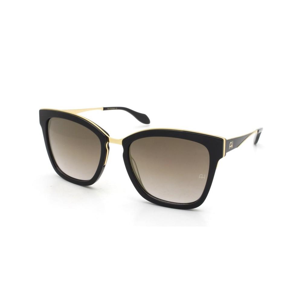 a18cf7477dfb0 Óculos de Sol Ana Hickmann Quadrado Armação Acetato Preta Lente Preta  Espelhada Sem Plaquetas ah9262 a01 ...