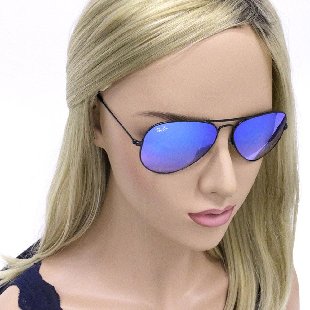 21d1694b7147c ... Óculos de Sol Ray-Ban Aviador Armação Metal Preta Lente Azul Espelhada  Com Plaquetas 0rb3025l ...