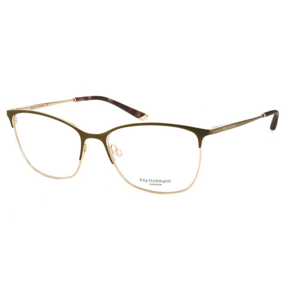 47671290a5d96 Óculos de Grau Ana Hickmann Gatinho Metal Marrom Aro Aberto Com Plaquetas  ah1318 01as ...