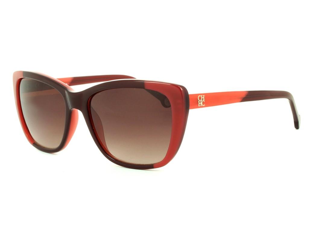 6d0216d466b84 Óculos de Sol Carolina Herrera Quadrado Armação Acetato Vermelha Lente  Marrom Degradê Sem Plaquetas she649550gev