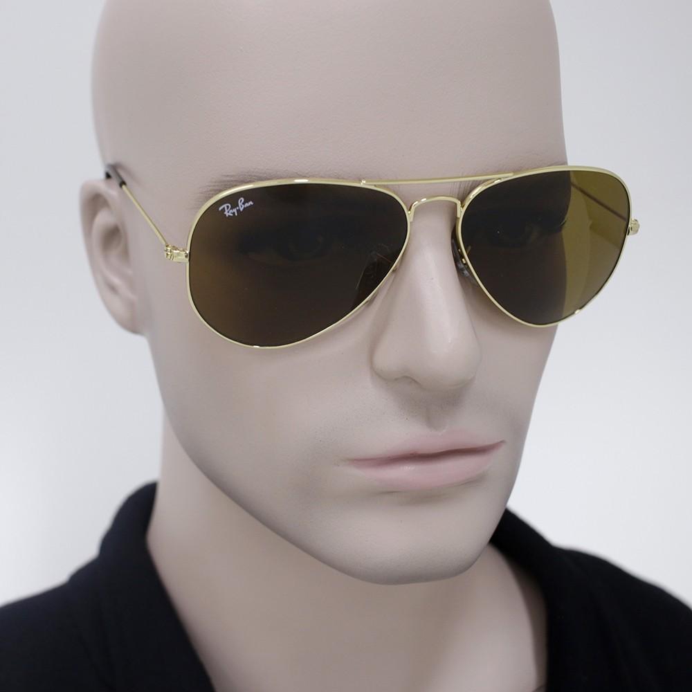 ... Óculos de Sol Ray-Ban Aviador Armação Metal Dourado Lente Marrom  Degradê Com Plaquetas 0rb3025L001 ... 1e79c32bcc