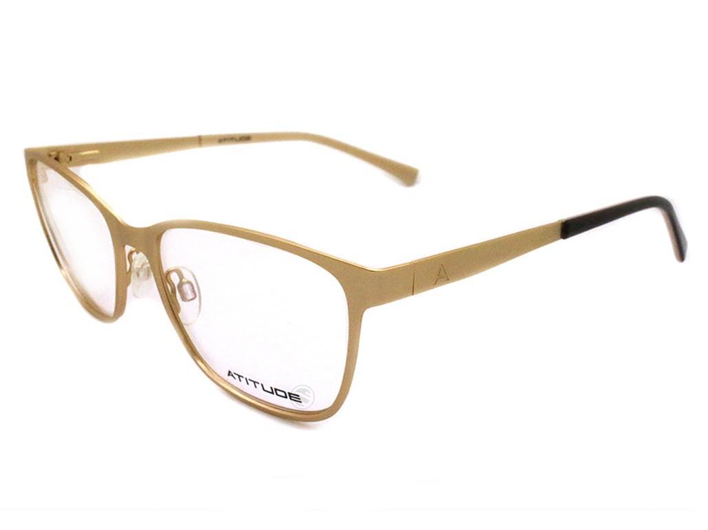 Óculos de Grau Atitude Quadrado Metal Dourada Aro Fechado Com Plaquetas  at1576 04a 00650f3fd7