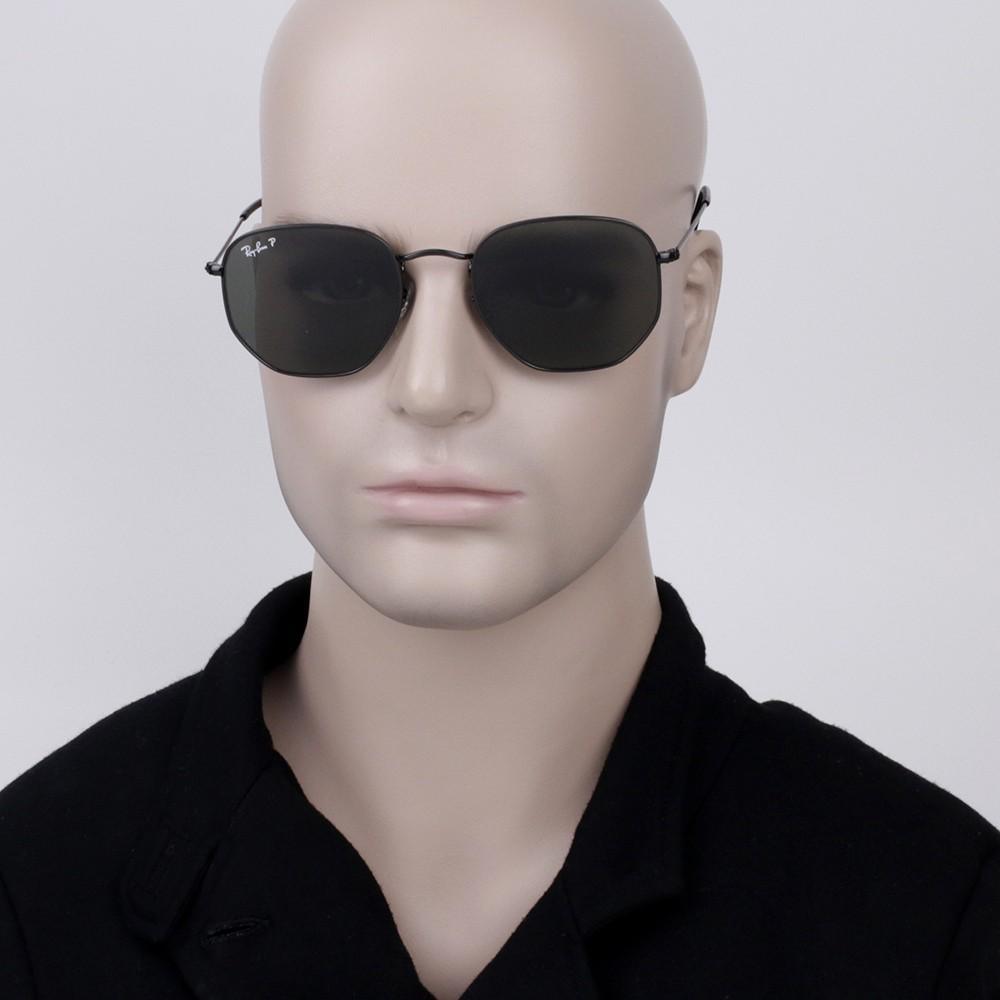 0d9edc5acc0a4 ... Óculos de Sol Ray-Ban Hexagonal Armação Metal Preto Lente Preta  Polarizada Com Plaquetas 0rb3548n