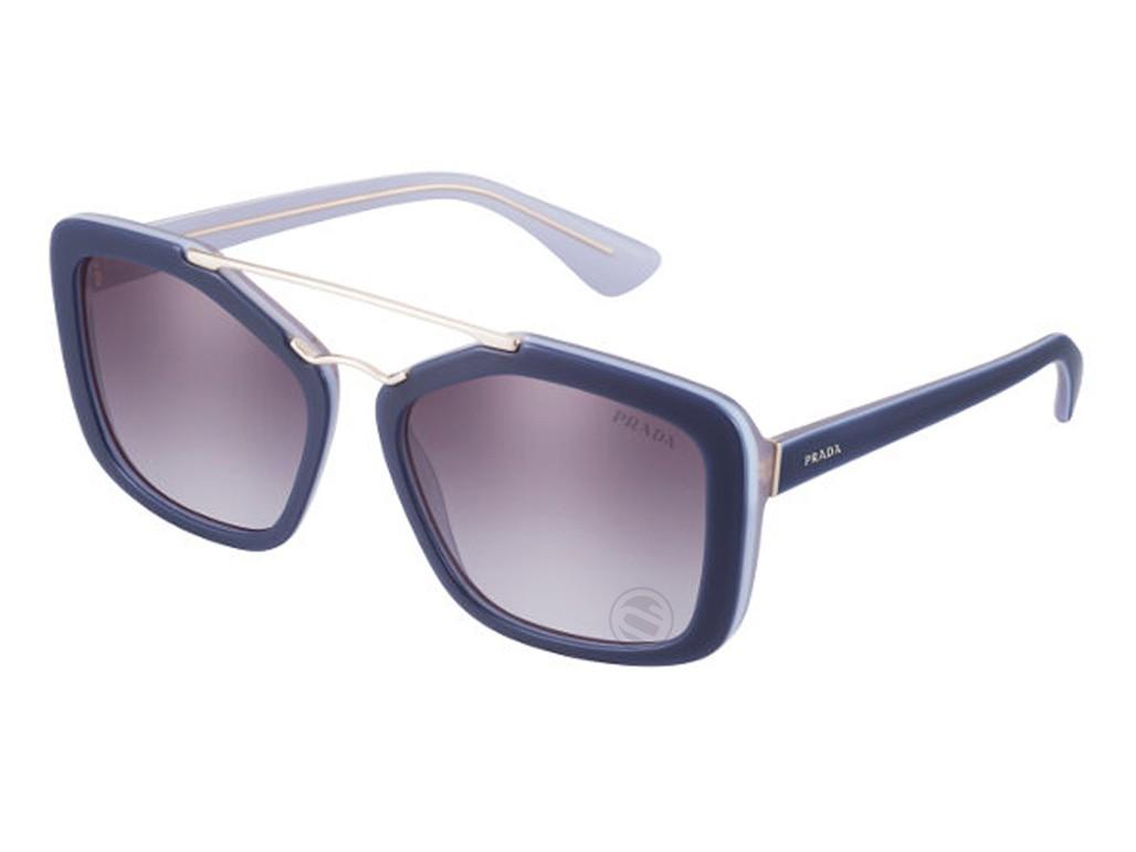 f5c4a19cf9753 Óculos de Sol Prada Quadrado Armação Metal Azul Lente Roxa Degradê Sem  Plaquetas pr24rsuee3e256