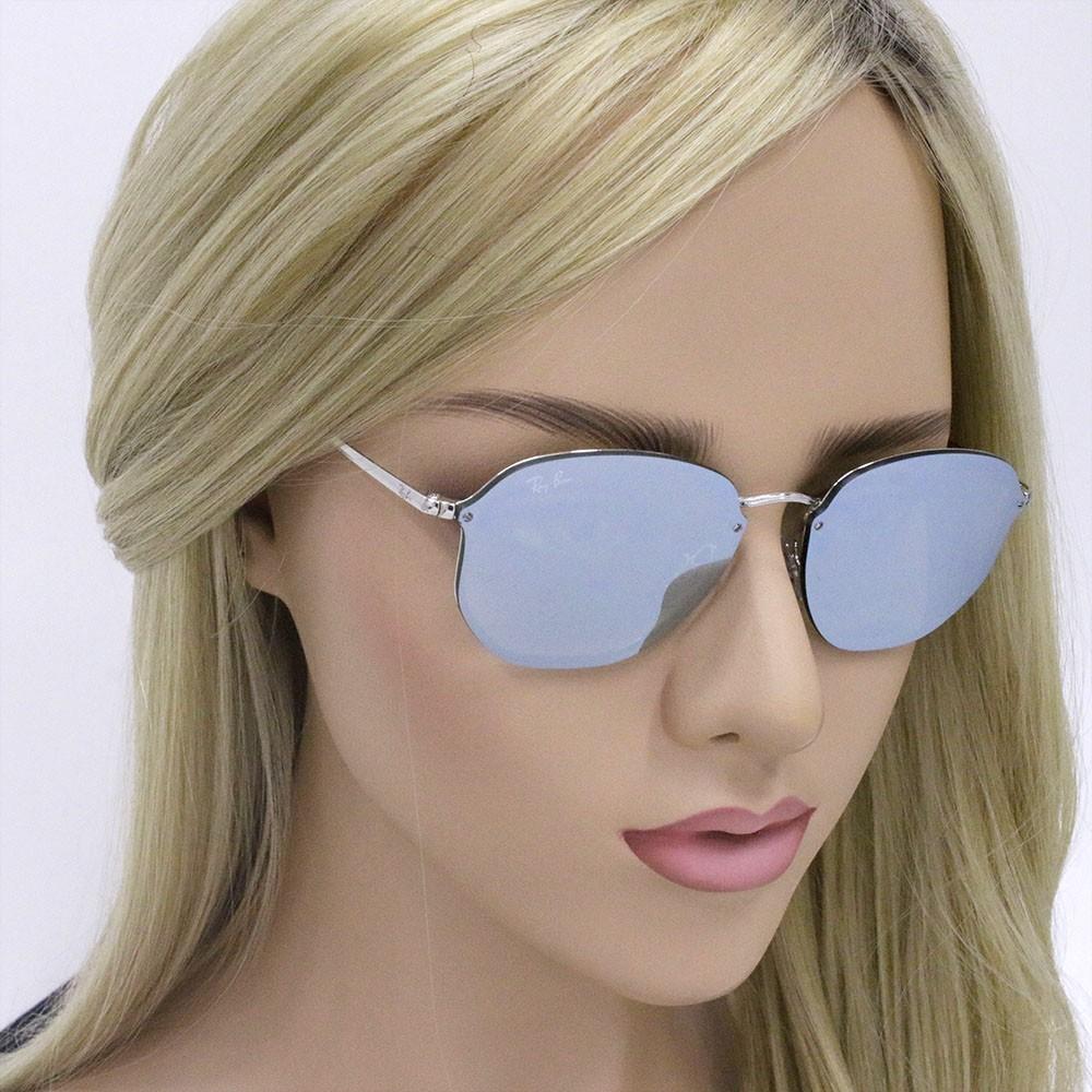 6ab41bd8e11e5 ... Óculos de Sol Ray-Ban Redondo Armação Metal Prata Lente Verde Espelhada  Com Plaquetas 0rb3574n ...