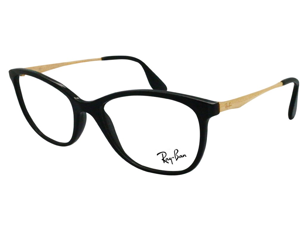 52c6d611d04bb Óculos de Grau Ray-Ban Gatinho Acetato Preta Aro Fechado Sem Plaquetas  0rx7105l520055