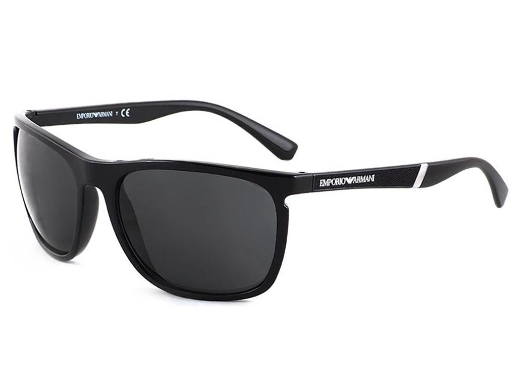 Óculos de Sol Emporio Armani Quadrado Armação Acetato Preto Lente Preta  Comum Sem Plaquetas 0ea4107 50178759 cafe9e95d7