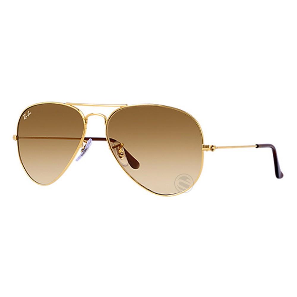 aeadac9539afc Óculos de Sol Ray-Ban Aviador Armação Metal Dourado Lente Marrom Degradê  Com Plaquetas 0rb3025l ...