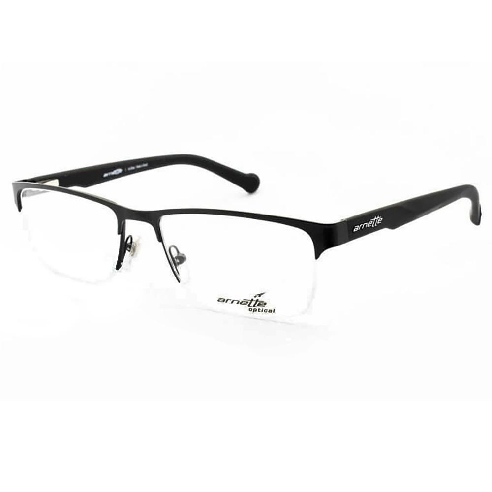 3df6b65549ad8 Óculos de Grau Arnette Retangular Metal Preta Aro Aberto Com Plaquetas  0an6096l 501 54 ...