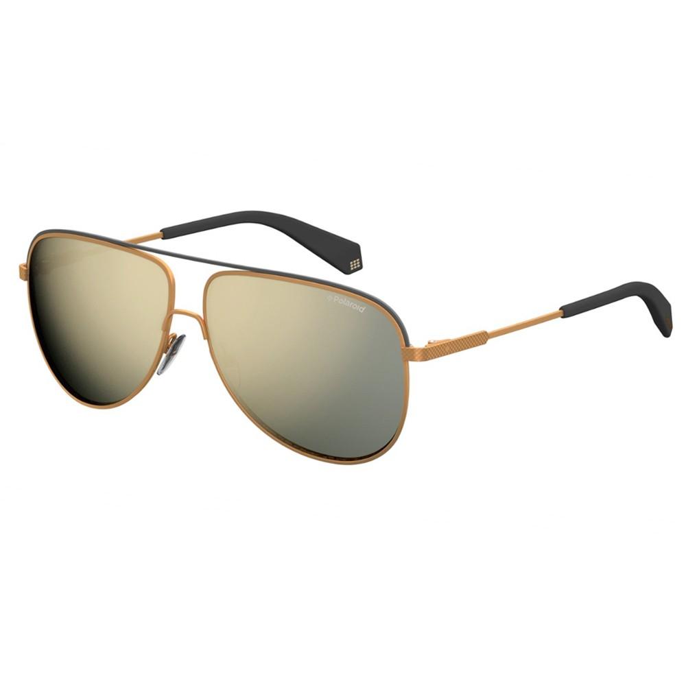 130b8ad8e9e88 Óculos de Sol Polaroid Aviador Armação Metal Dourado Lente Dourada  Espelhada Com Plaquetas pld 2054  ...