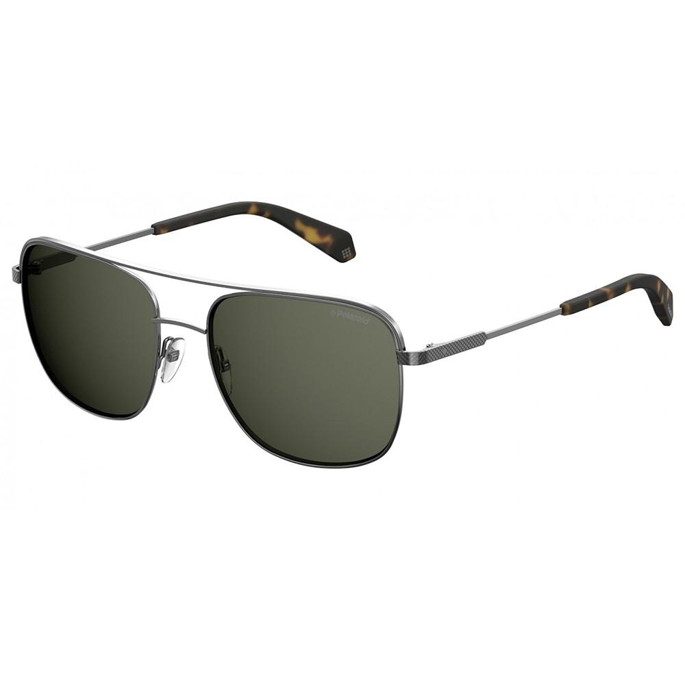 7c37a71c50656 Óculos de Sol Polaroid Quadrado Armação Metal Prata Lente Preta Comum Com Plaquetas  pld 2056  ...
