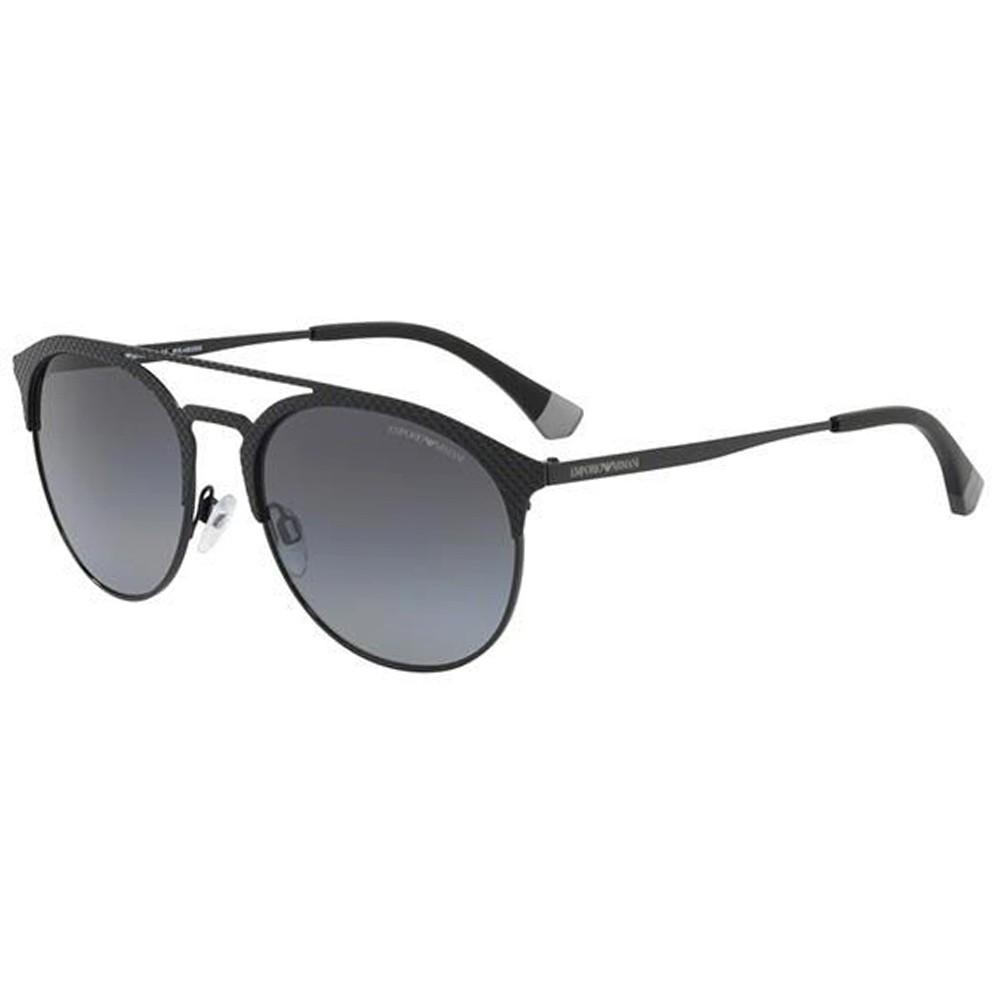 19d6d4f24481f Óculos de Sol Emporio Armani Redondo Armação Plástico Preto Lente Preta  Comum Com Plaquetas ea2052 3014t ...