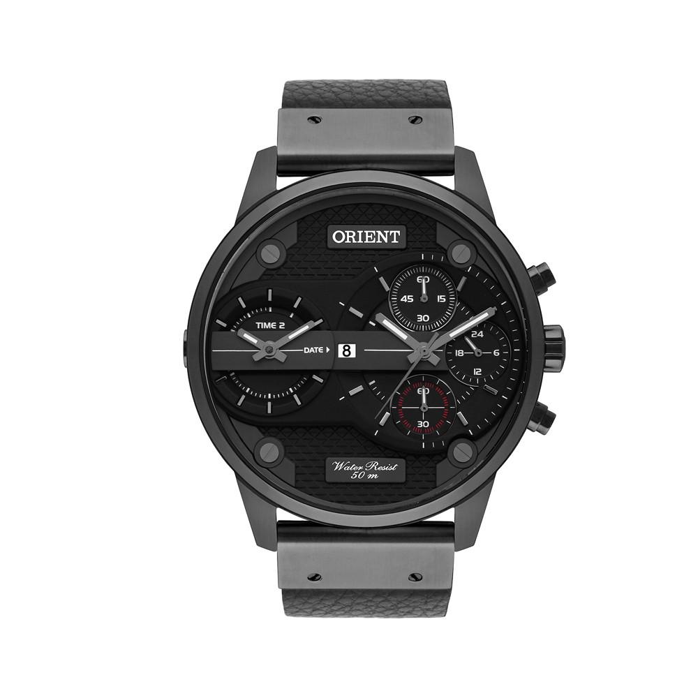 Relógio Orient Caixa Redonda Analógico Metal Preta Pulseira Couro Preta  mpsct001 pipx ... 08bf769fe5