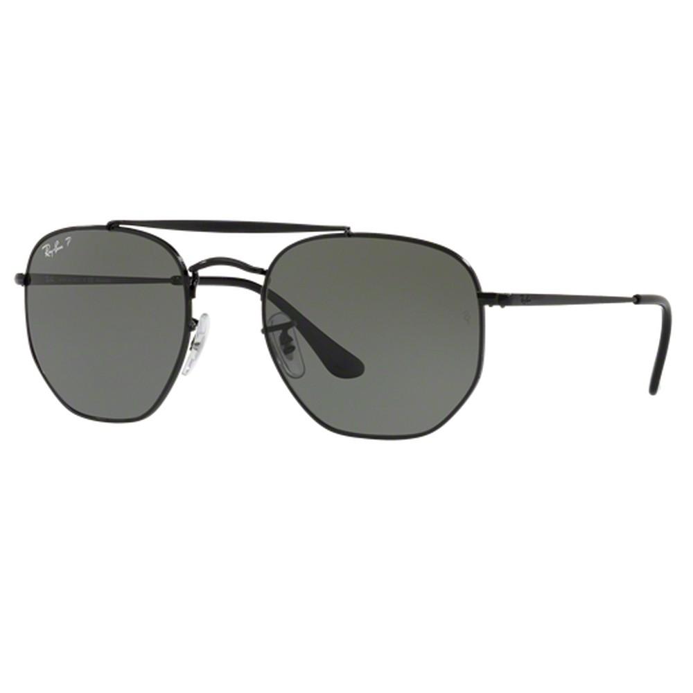 Óculos de Sol Ray-Ban Caçador Armação Metal Preto Lente Preta Polarizada  Com Plaquetas 0rb3648 ... 4ca7b9423f