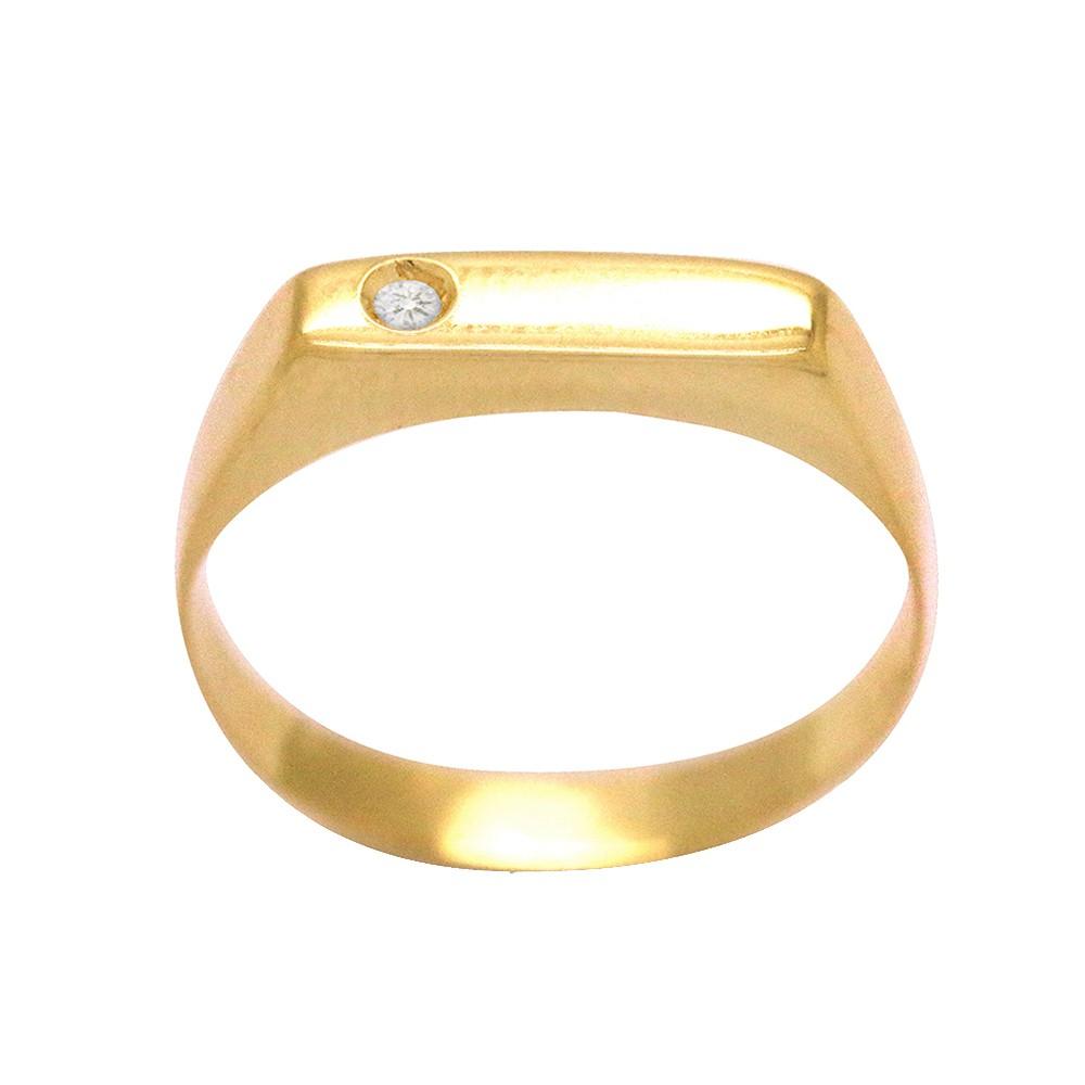289398c2a1a7c Anel Ouro 18k Amarelo Chapinha Cravejado 1 Zircônia Branca Feminino N° 10