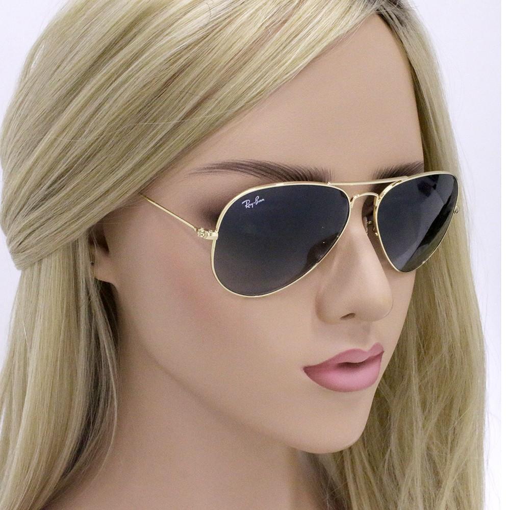 4ca3a0a1ef4da ... Óculos de Sol Ray-Ban Aviador Armação Metal Dourada Lente Verde Degradê  Com Plaquetas 0rb3025l181 ...