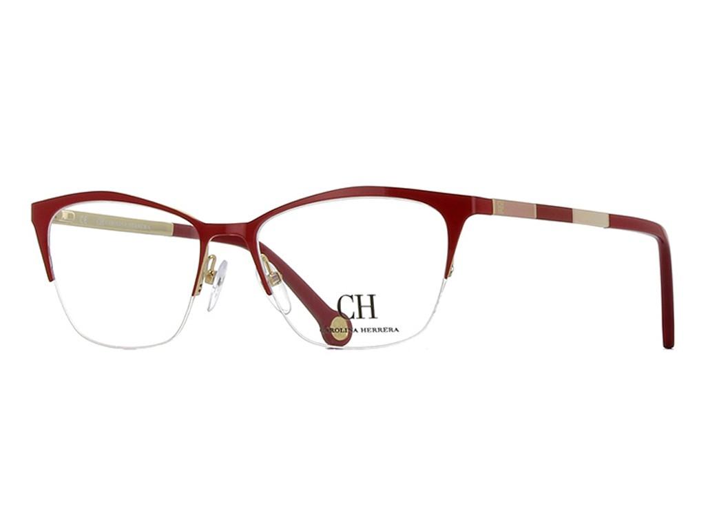 57d61385da4d3 Óculos de Grau Carolina Herrera Gatinho Metal Vermelha Aro Aberto Com  Plaquetas vhe076510357