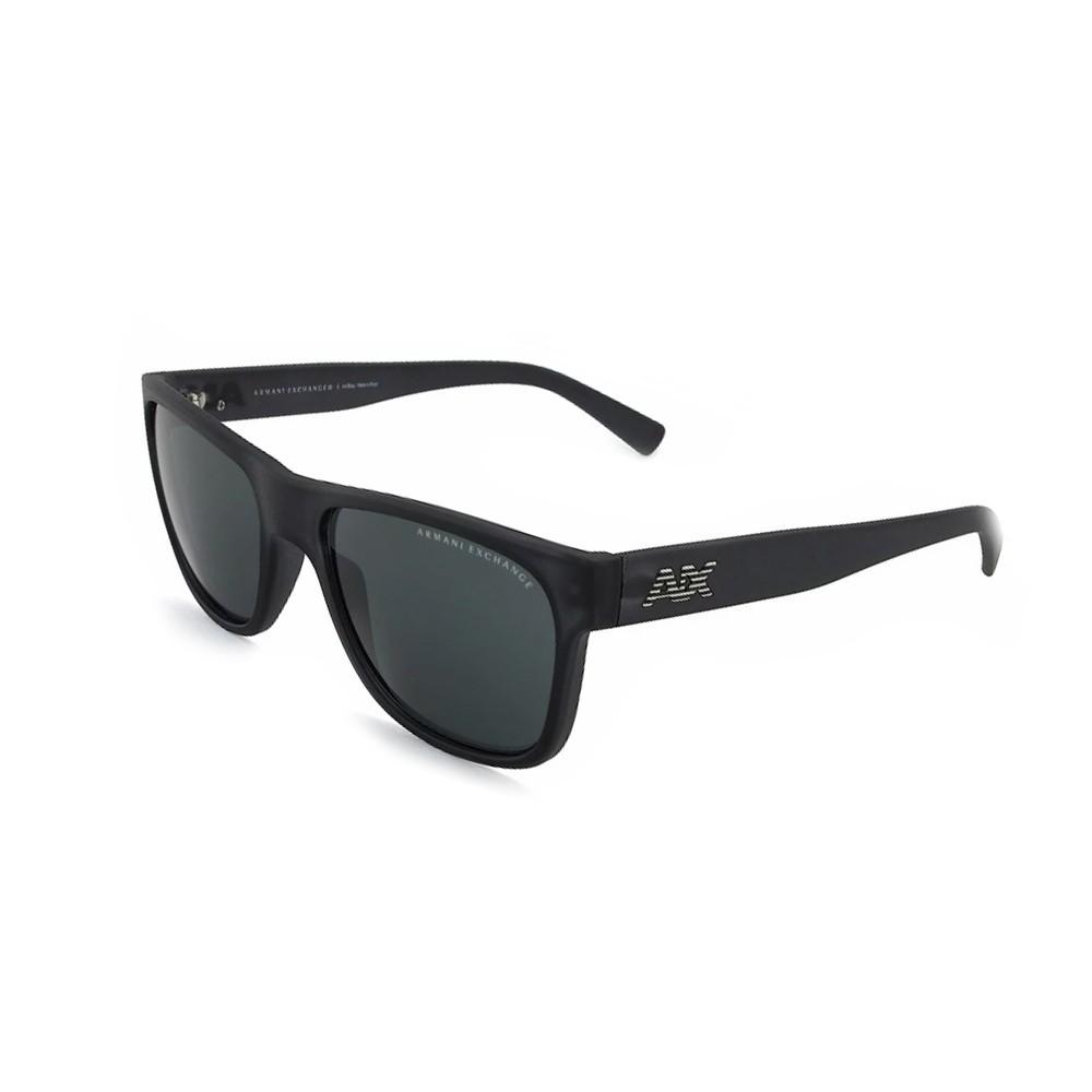 839fdb4c2cc1f Óculos de Sol Armani Exchange Retangular Armação Acetato Preta Lente  Dourada Espelhada Sem Plaquetas 0ax4008l 80785a56 ...