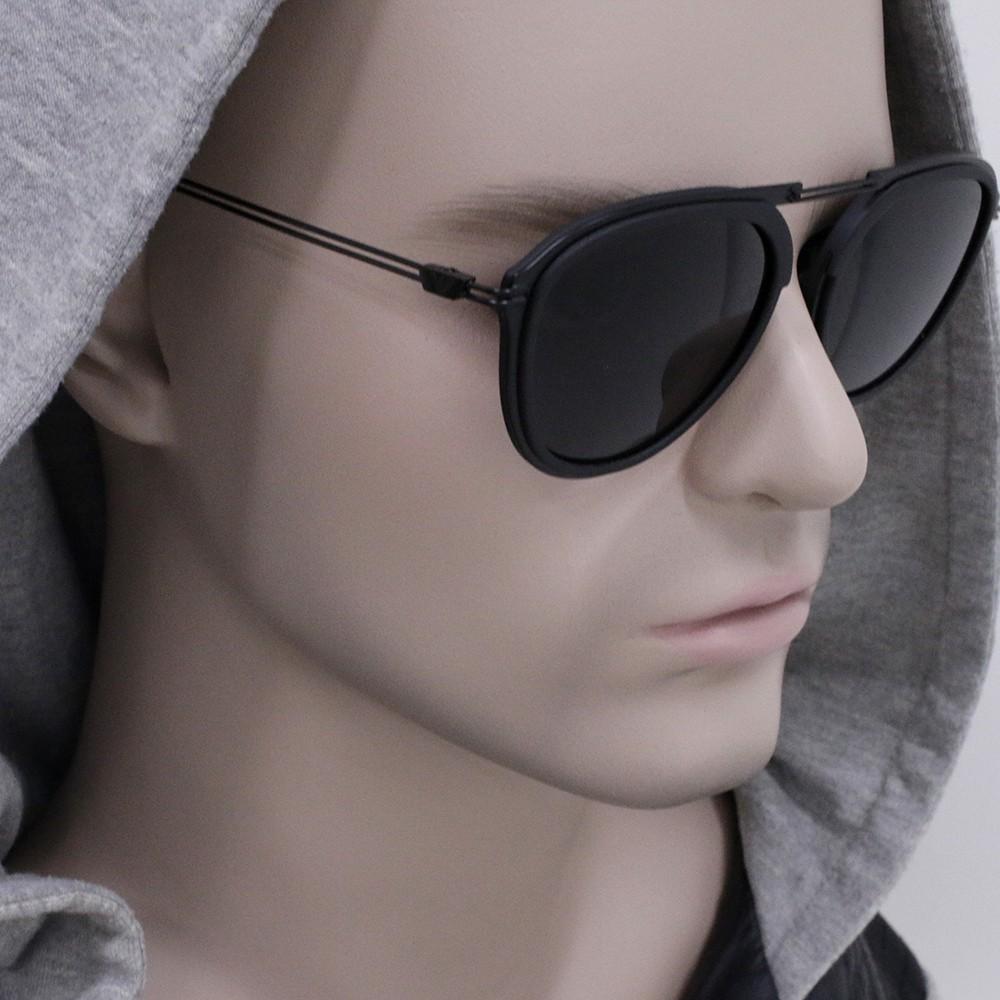 f14f101e098c9 ... Óculos de Sol Emporio Armani Redondo Armação Plástico Preto Lente Preta  Comum Sem Plaquetas ea2056 30018754