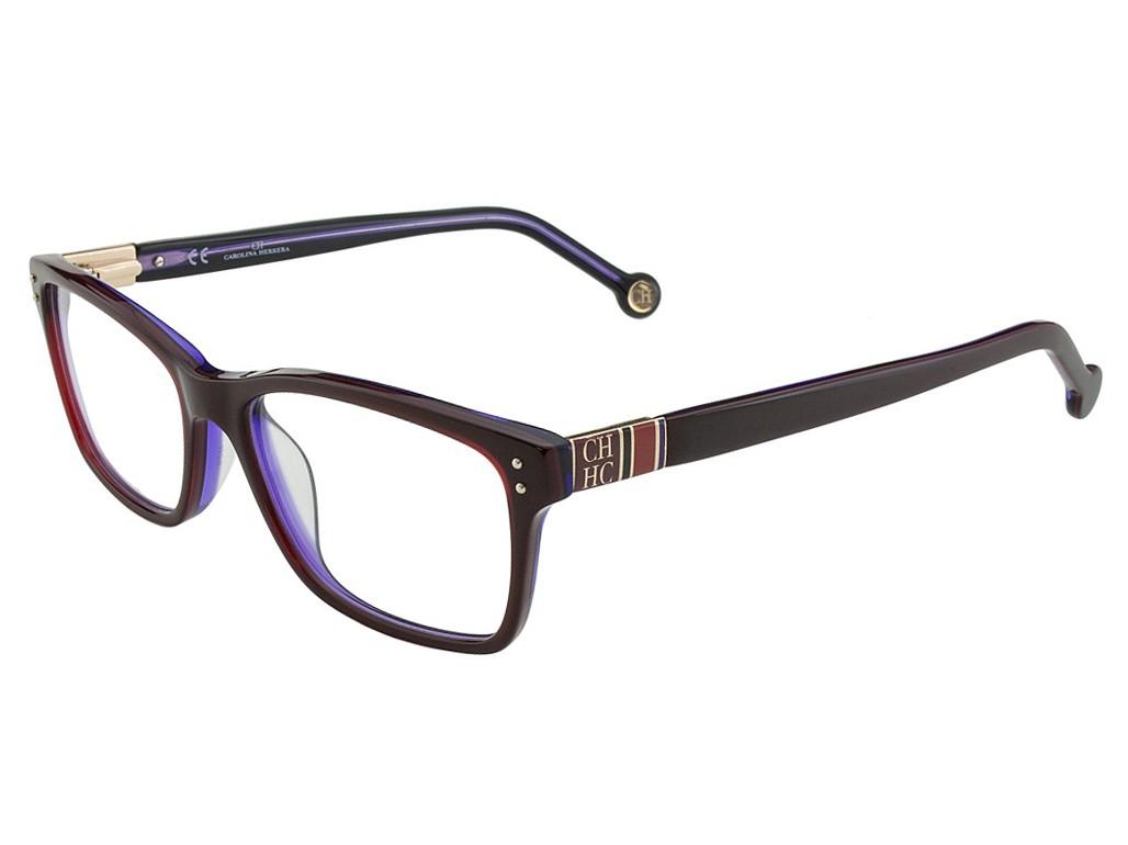 056d65c784565 Óculos de Grau Carolina Herrera Retangular Acetato Bordô Aro Fechado Sem  Plaquetas vhe561530m56
