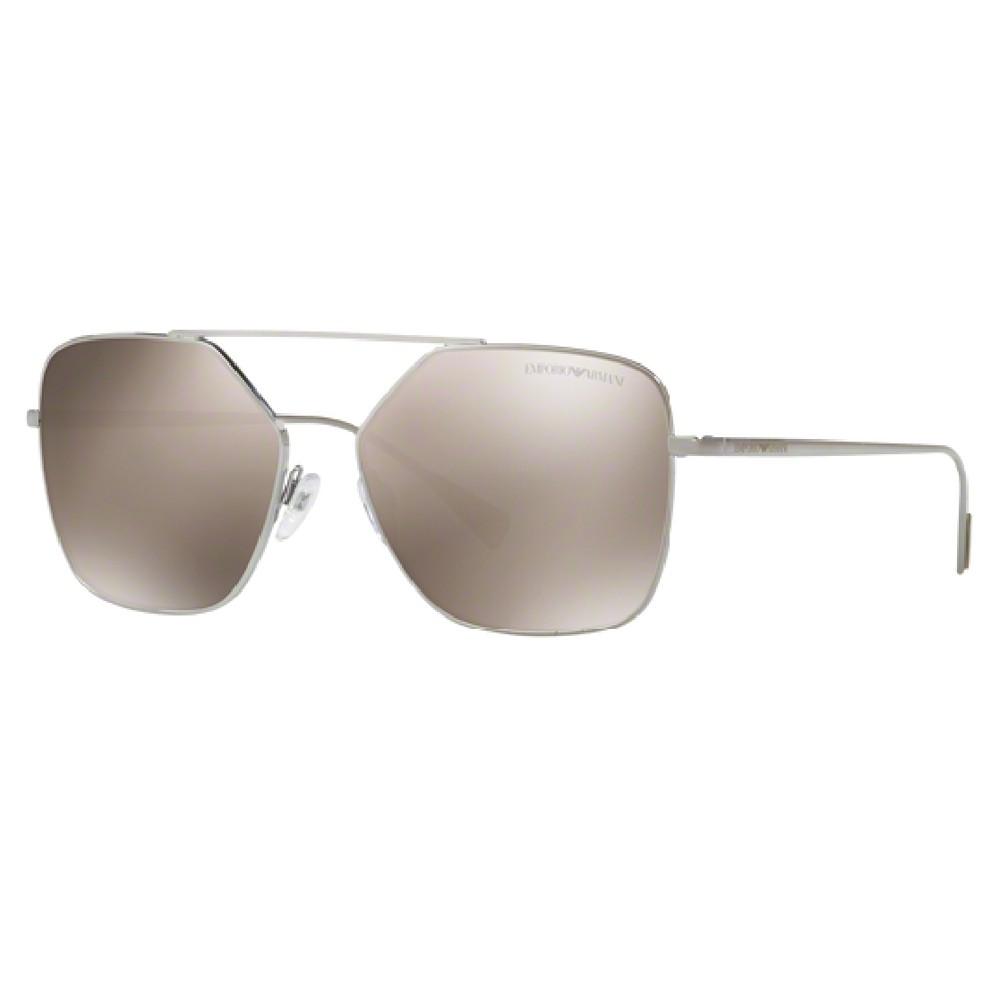 a88f5e2e05aa3 Óculos de Sol Emporio Armani Quadrado Armação Metal Prata Lente Cinza  Espelhada Com Plaquetas 0ea2053 30105a56 ...