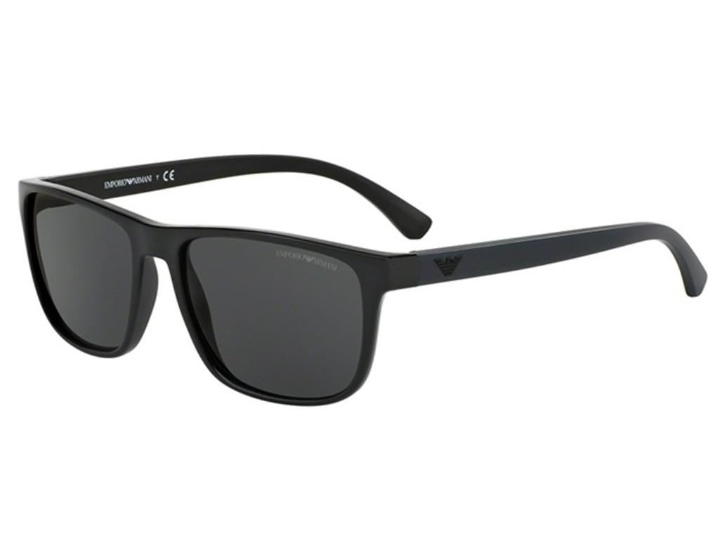 a963136a6e25e Óculos de Sol Emporio Armani Quadrado Armação Acetato Preta Lente Preta  Comum Sem Plaquetas 0ea408750178757