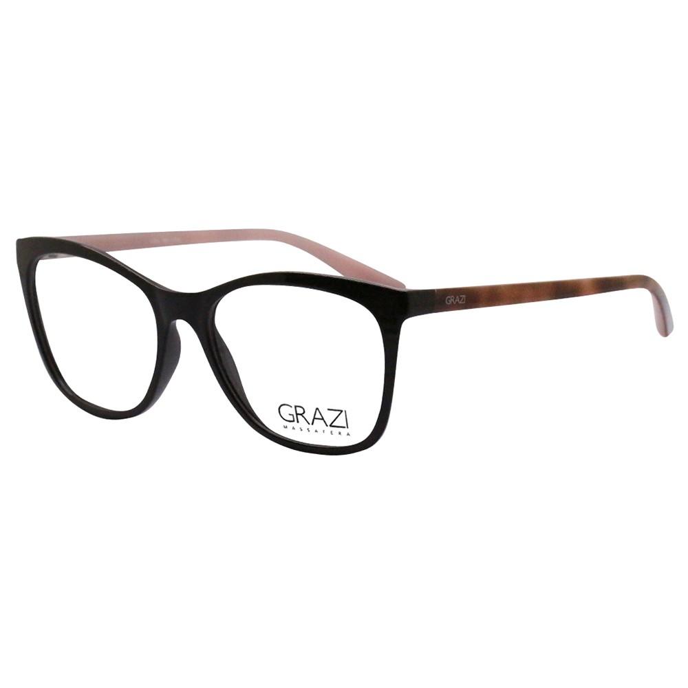 2b7eb4c068cd3 Óculos de Grau Grazi Massafera Quadrado Acetato Marrom Aro Fechado Sem  Plaquetas 0gz3025 e394 53 ...