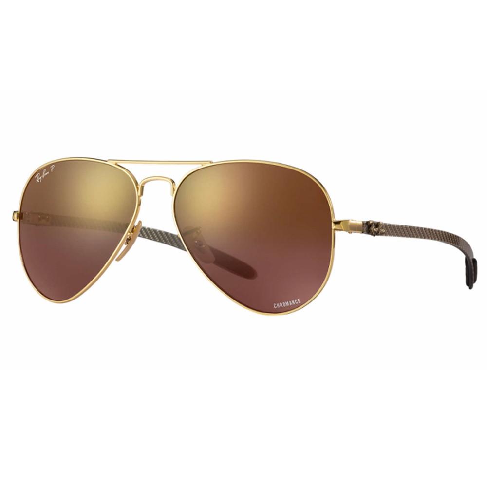 Óculos de Sol Ray-Ban Aviador Armação Metal Dourado Lente Marrom Polarizada  Com Plaquetas 0rb8317ch ... 9b7a650890