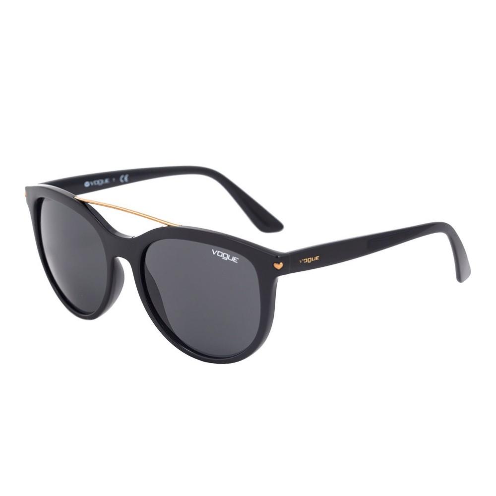 ef18c2b995703 Óculos de Sol Vogue Redondo Armação Acetato Preta Lente Preta Comum Sem  Plaquetas 0vo5134s w44  ...