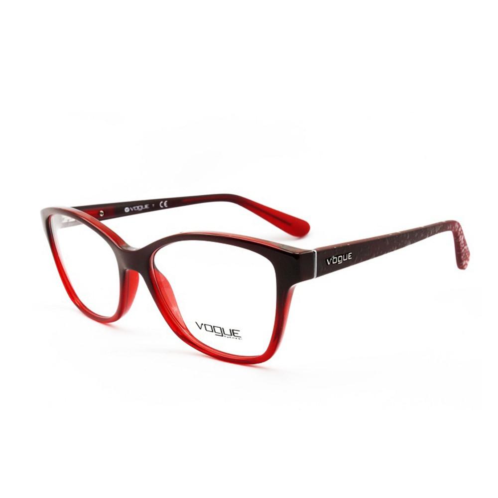 Óculos de Grau Vogue Quadrado Acetato Vermelha Aro Fechado Sem Plaquetas  0vo2998 2348 54 ... ae463d1c6c