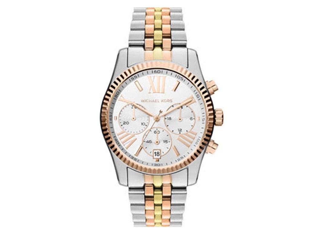 05ecf575277d3 Relógio Michael Kors Prata Vermelho e Dourado Feminino Authentika Joias