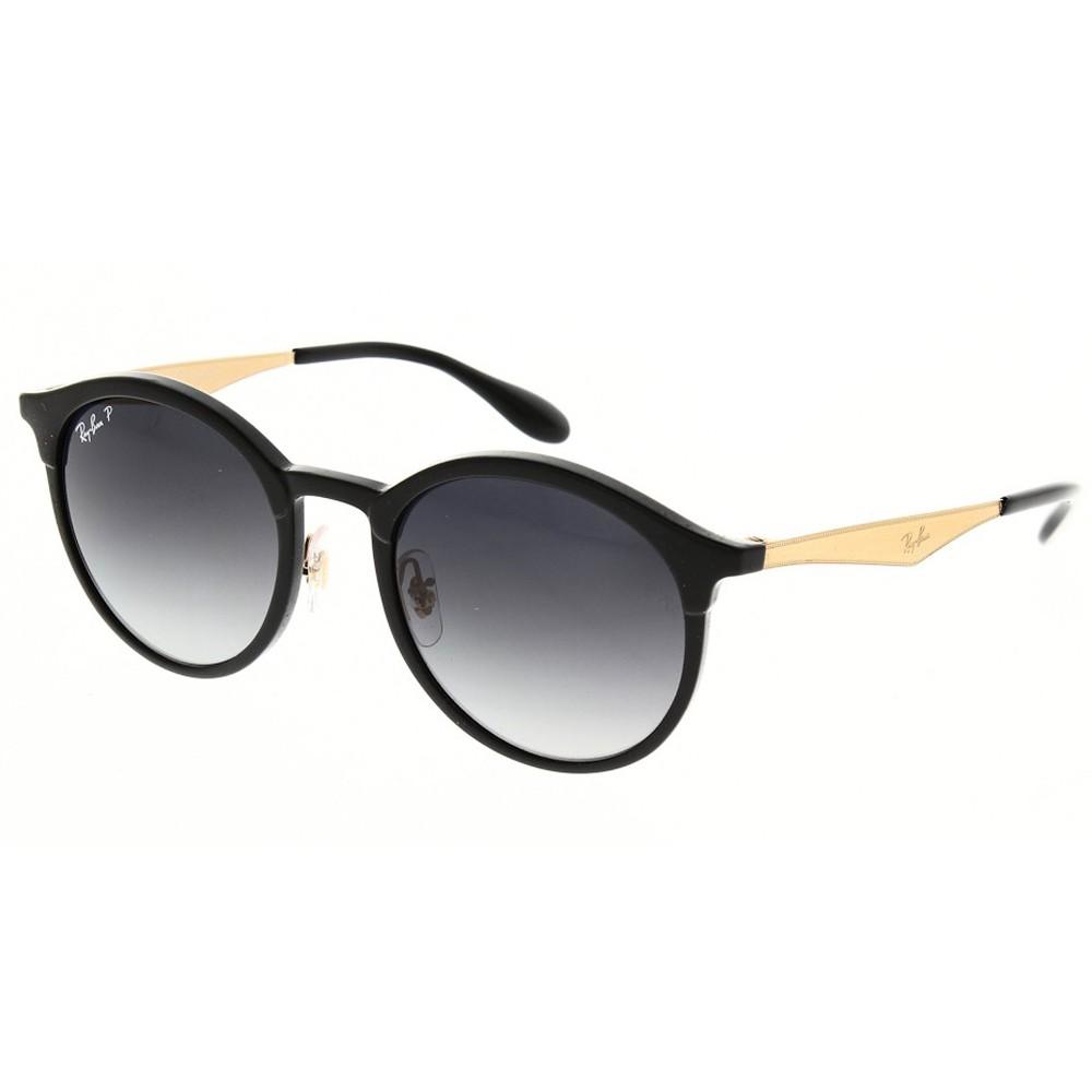 585299e82b1fd Óculos de Sol Ray-Ban Redondo Armação Acetato Preto Lente Preta Polarizada  Com Plaquetas 0rb4277 ...