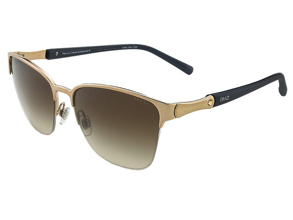02339e75ae89d Óculos de Sol Grazi Massafera Quadrado Armação Metal Dourada Lente Marrom  Degradê Com Plaquetas 0gz2002b e302