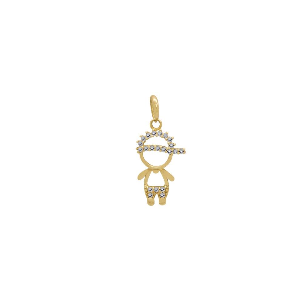 Pingente Ouro 18k Amarelo Menino Vazado Boné e Roupa Cravejados Zircônias 32b823ae6e