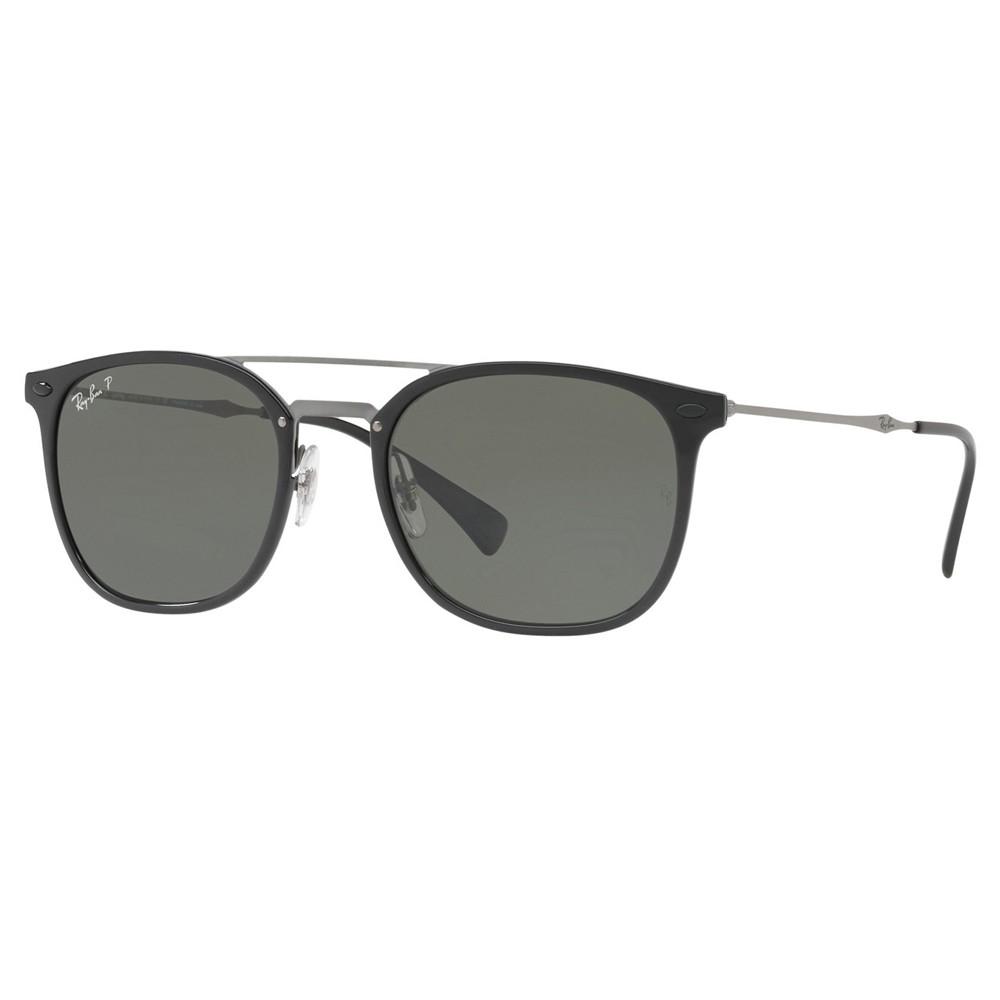 608a7c0a60073 Óculos de Sol Ray-Ban Redondo Armação Acetato Preta Lente Verde Polarizada  Com Plaquetas 0rb4286