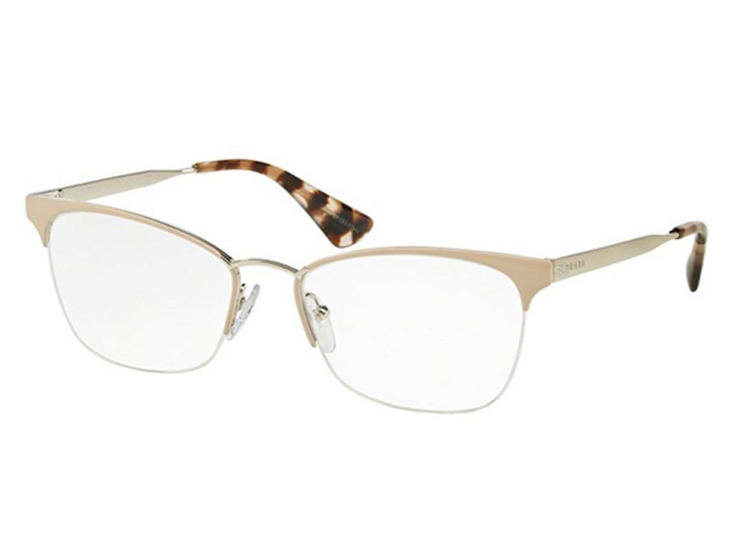 Óculos de Grau Prada Gatinho Acetato Bege Aro Aberto Com Plaquetas  pr65qvuao1o153 97868dac11