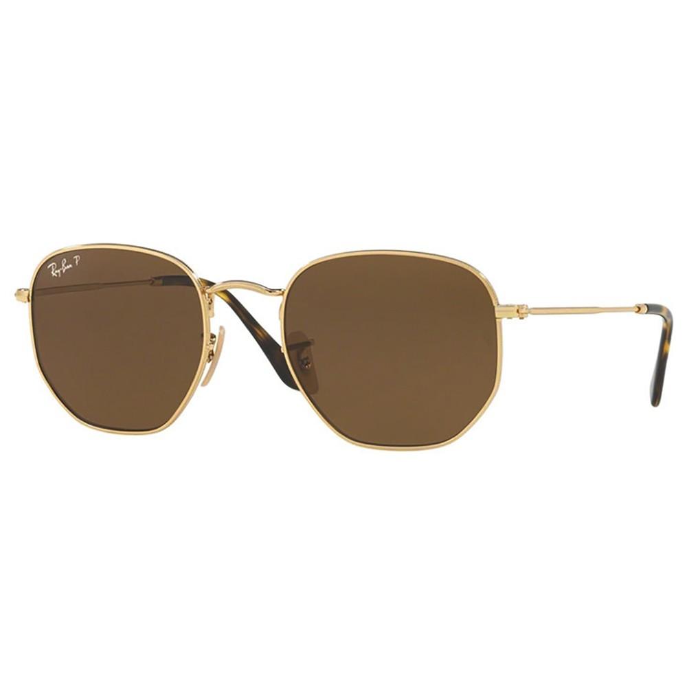 ece26127caa14 Óculos de Sol Ray-Ban Hexagonal Armação Metal Dourado Lente Marrom  Polarizada Com Plaquetas rb3548n ...