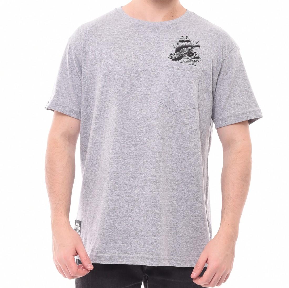 Camiseta Okdok Estampa Barco com Bolso Cinza Mescla - LM Martins ... 3eb634bc5321f