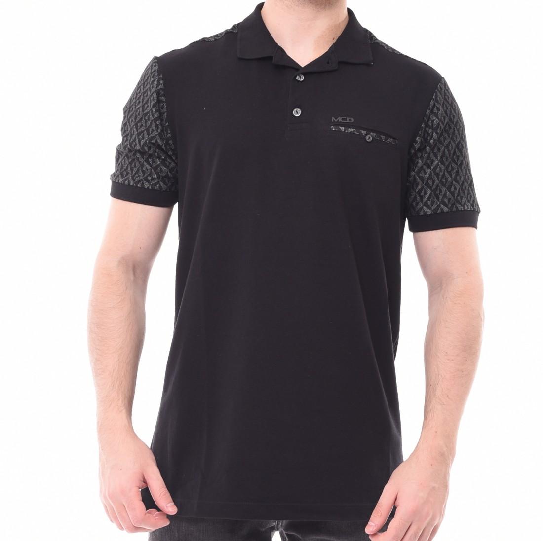Camisa Polo MCD com Bolso Costas Estampada Preta - LM Martins ... ead32a910d7b7