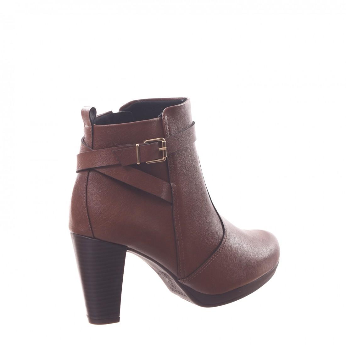 6689d66c46 ... Bota Ankle Boot Modare Ultra Conforto Salto Grosso Detalhe Fivela  Marrom ...