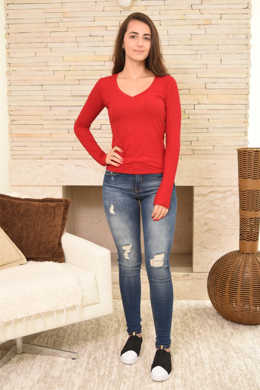 3bcf5b494f Calça Jeans Lunender Skinny Chapa Barriga Estonada Detalhe Lixada Lavagem  Azul Médio ...