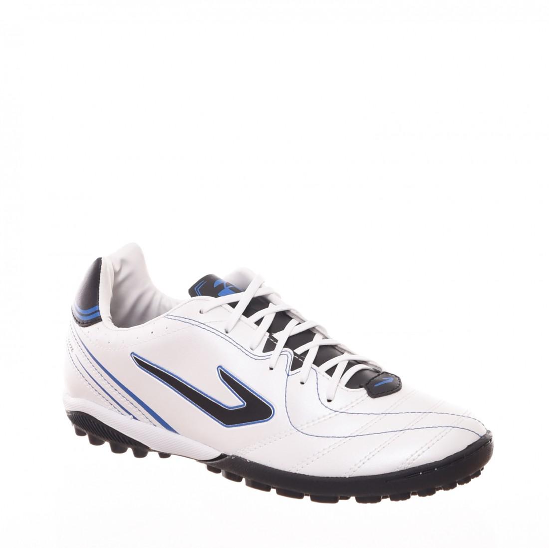 56e18016b4 Chuteira Society Topper Titanium 6 Detalhe Costura Branco e Azul ...