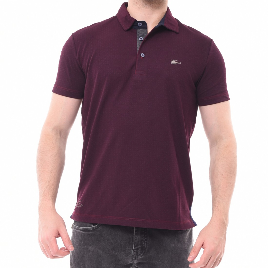 Camisa Polo Sallo Micro Estampa Piquet Bordô - LM Martins - Veste ... da0f60ed5be14