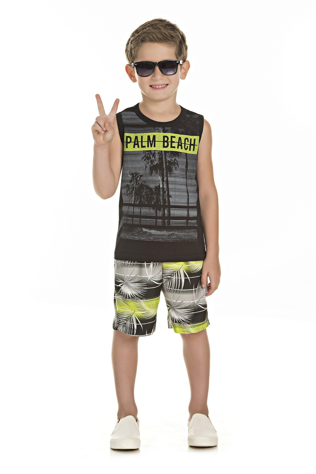 Conjunto Infantil Masculino Regata Palm Beach - Lussan - Lussan Moda ... d4c4c542612