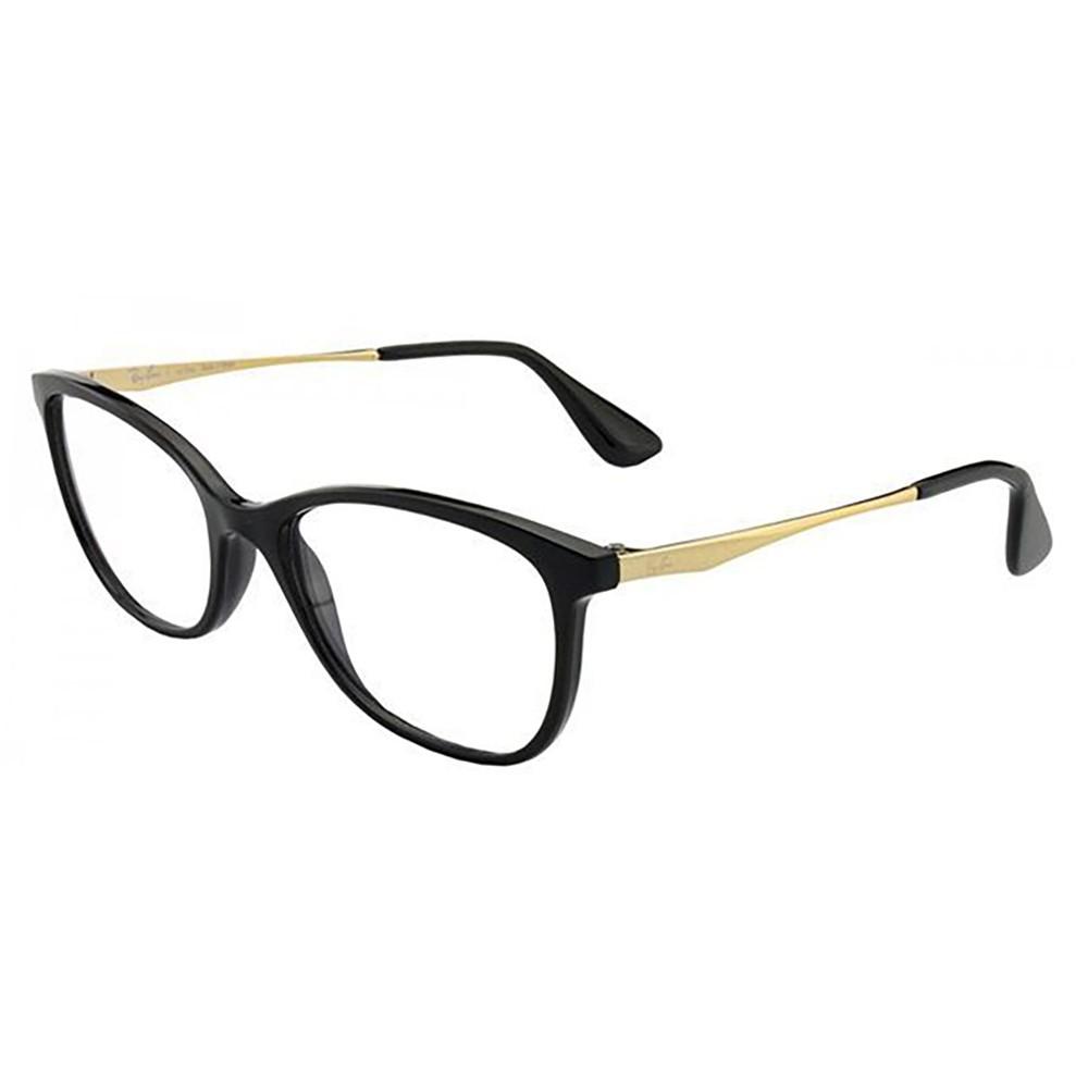Óculos de Grau Ray-Ban Gatinho Acetato Preta Aro Fechado Sem Plaquetas  0rx7106l 5697 53 ... d9f87879a3