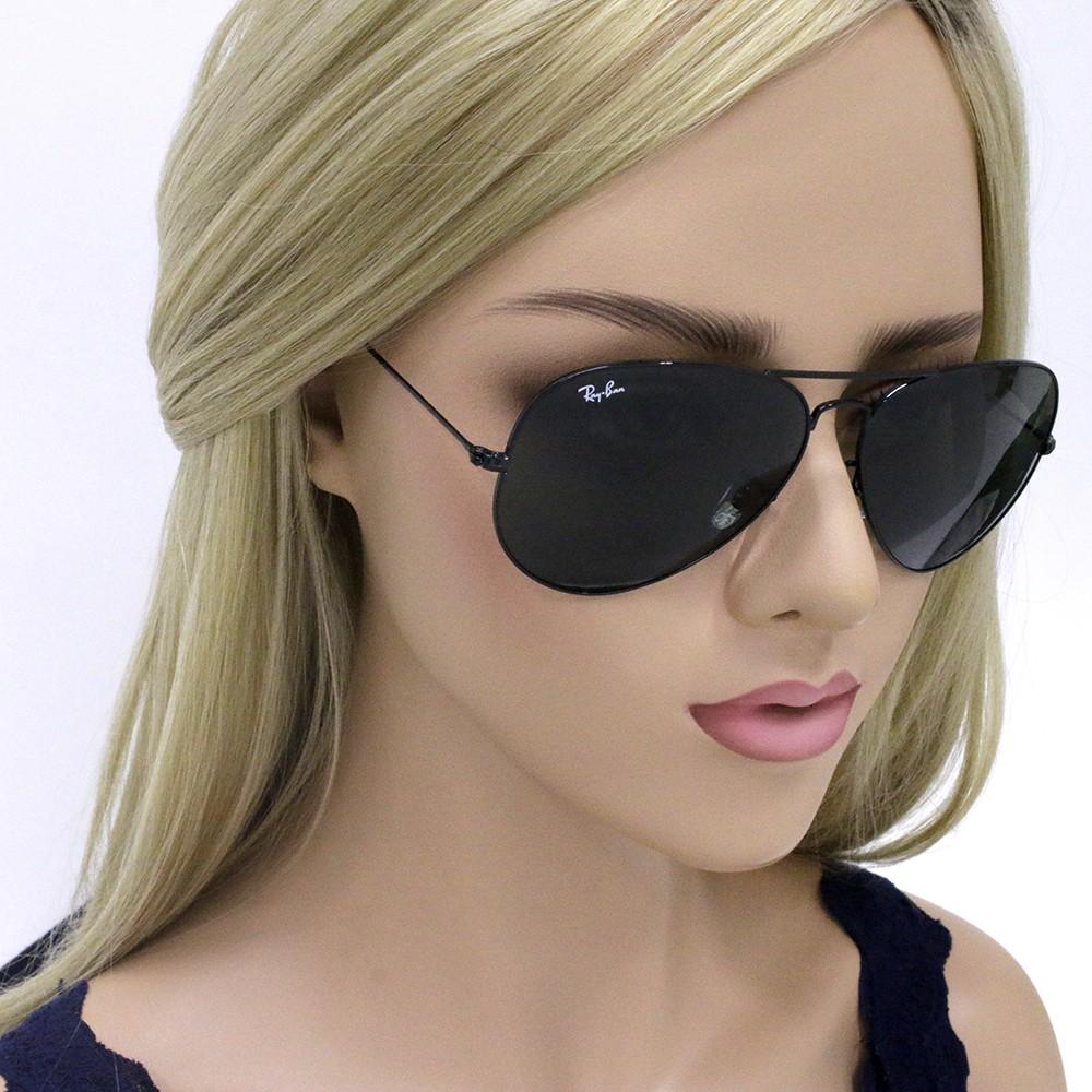 ... Óculos de Sol Ray-Ban Aviador Armação Metal Preto Lente Verde Comum Com  Plaquetas 0rb3026l ... ccbb152b9f