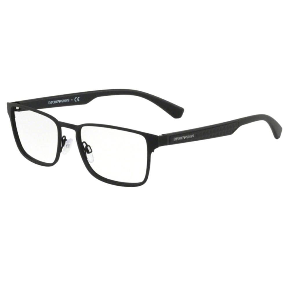 Óculos de Grau Emporio Armani Quadrado Metal Preta Aro Fechado Com Plaquetas  0ea1063 309455 ... 863044c73f