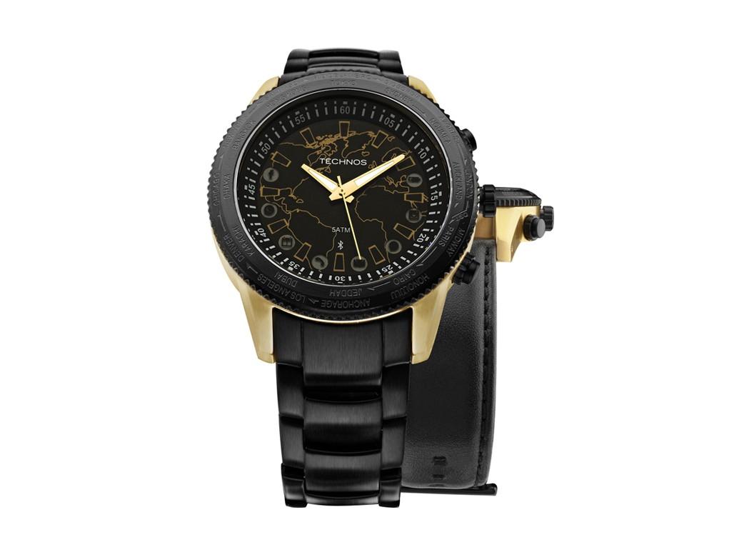 Relógio Technos Connect Dourado e Preto Masculino Authentika Joias 4d725b48de