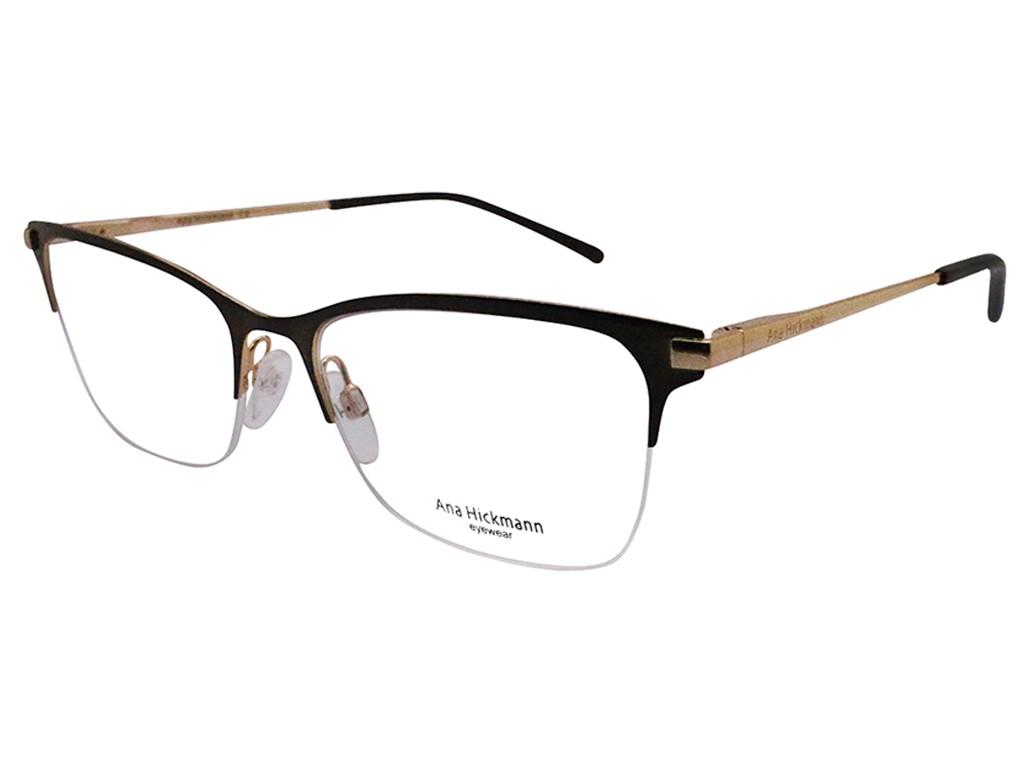 b5acdea879e66 Óculos de Grau Ana Hickmann Retangular Metal Marrom Aro Aberto Com  Plaquetas ah1326 02a ...