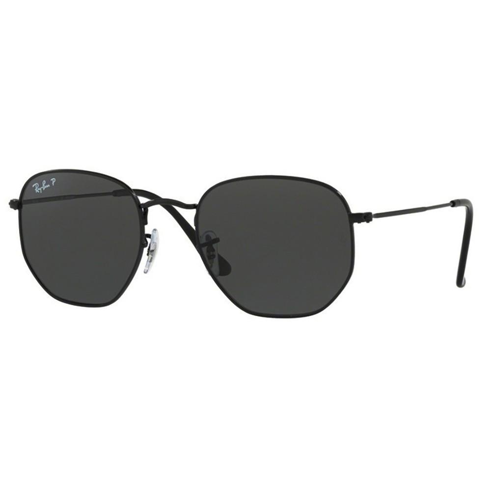 f8ddf16c58bf5 Óculos de Sol Ray-Ban Hexagonal Armação Metal Preto Lente Preta Polarizada  Com Plaquetas 0rb3548n ...